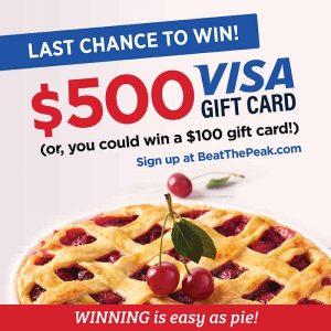 You could win a $500 Visa Gift card, sign up at BeatThePeak.com