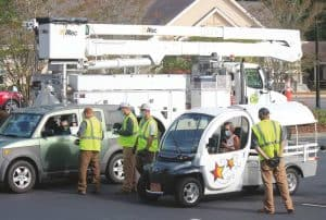 Little River Lineworkers at drive-thru Annual Meeting registration