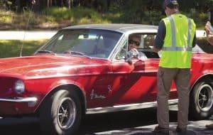 Louise Walker in her vintage Ford Mustang.