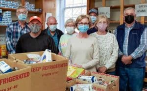 Food bank volunteers are pictured