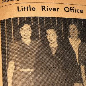 "January 1951 S.C. Electric Co-op News clipping entitled ""Little River Office Force"""